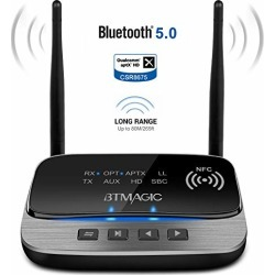 BTMAGIC Bluetooth 5.0 Transmitter Receiver 265FT Long Range 3 in 1 Bluetooth Audio Adapter aptX HD & aptX Low Latency, Optical RCA AUX 3.5mm for TV Home Stereo PC Headphone/Speaker, USB Rechargeable found on Bargain Bro from  for $65.99