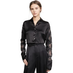 Anais Jourden Black Silk Satin Shirt found on MODAPINS from shopbop for USD $197.50
