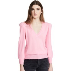 Autumn Cashmere Puff Sleeve Cashmere V Neck Pullover