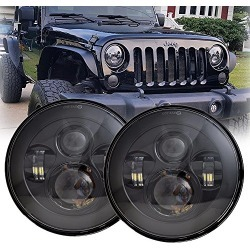 LX-LIGHT 7'' Round Black Cree LED Headlight High Low Beam for Jeep Wrangler JK TJ LJ CJ Hummber H1 H2 (Pair) found on Bargain Bro from  for $90