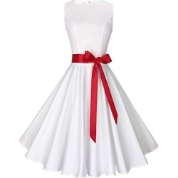 Anni Coco Women's 1950s Hepburn Vintage Swing Dresses White Large