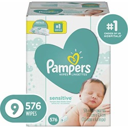 Pampers Sensitive Water-Based Baby Diaper Wipes, 9 Refill Packs for Dispenser Tub - Hypoallergenic and Unscented - 576 Count found on Bargain Bro from  for $14.59