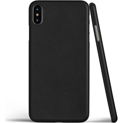 iPhone X Case, Thinnest Genuine Leather Cover Case for Apple iPhone X - Ultra Thin, Slim & Real Premium Leather Back (Black)
