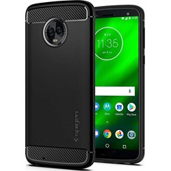 Spigen Rugged Armor Moto G6 Case with Flexible and Durable Shock Absorption with Carbon Fiber Design for Motorola Moto G6 (2018) - Black found on Bargain Bro from  for $19.99