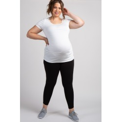 Black Mesh Panel Maternity Plus Leggings