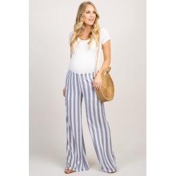 Navy Striped Maternity Pants