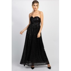 Black Sweetheart Sequin Gown