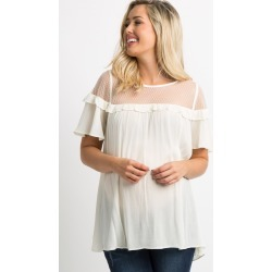 White Mesh Accent Ruffle Trim Pleated Maternity Top found on Bargain Bro India from PinkBlush Maternity for $37.00