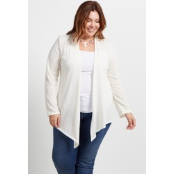 Cream Basic Plus Size Cardigan