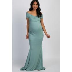 Mint Off Shoulder Wrap Maternity Photoshoot Gown/Dress