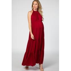 Burgundy Open Back Adjustable Strap Halter Neck Tiered Maternity Gown