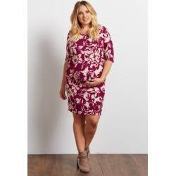 Magenta Floral Fitted Maternity Plus Size Dress
