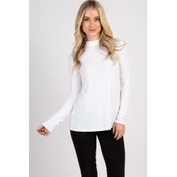 White Ribbed Mock Neck Long Sleeve Top found on Bargain Bro India from PinkBlush Maternity for $35.00