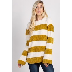 Yellow Chenille Striped Sweater