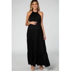 Black Open Back Adjustable Strap Halter Neck Tiered Maternity Gown