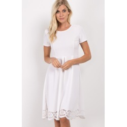 Ivory Scalloped Pleated Skirt Dress