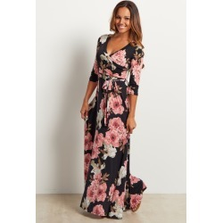 2edea3ae866 Black Floral Sash Tie Maxi Dress found on MODAPINS from PinkBlush Maternity  for USD  68.00
