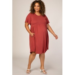Rust Solid Plus Maternity Babydoll Dress found on Bargain Bro India from PinkBlush Maternity for $52.00
