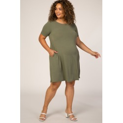 Olive Short Sleeve Maternity Plus  Dress found on Bargain Bro India from PinkBlush Maternity for $47.00