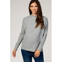 Heather Grey Ribbed Mock Neck Maternity Top found on Bargain Bro India from PinkBlush Maternity for $35.00