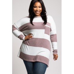 Burgundy Striped Soft Knit Button Up Side Plus Top