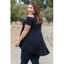 Black Open Shoulder Plus Size Tunic