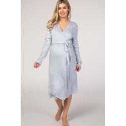 PinkBlush Light Blue Heathered Long Sleeve Delivery/Nursing Maternity Robe