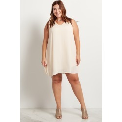 Cream Basic Chiffon Plus Size Dress