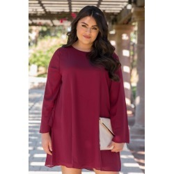 Burgundy Chiffon Bell Sleeve Plus Size Dress