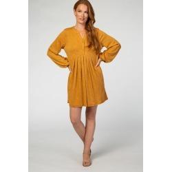 Mustard Long Sleeve Pleated Dress