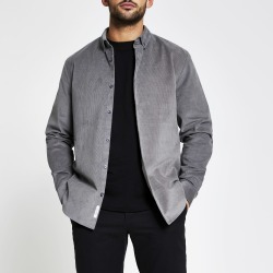 Mens River Island Maison Riviera Grey corduroy shirt