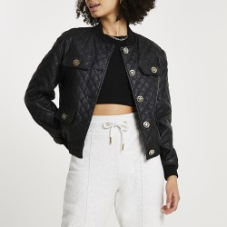 River Island Womens Black faux leather quilted bomber jacket found on MODAPINS from RIver Island US for USD $121.00