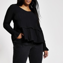 River Island Womens Plus black stitched frill smock blouse