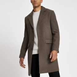 Mens River Island Brown single breasted overcoat