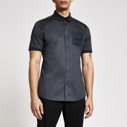 River Island Mens MCMLX navy badge pocket slim fit shirt