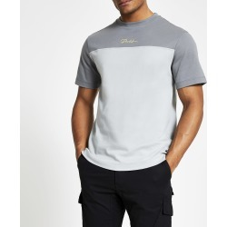 Mens River Island Prolific Grey blocked slim fit T-shirt
