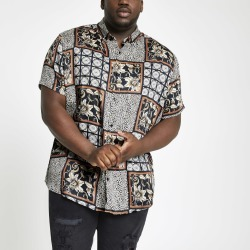 Mens River Island Big and Tall Black animal tile revere shirt found on Bargain Bro UK from River Island - UK