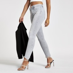 Womens Light Grey Molly mid rise jeggings found on MODAPINS from River Island - UK for USD $52.38