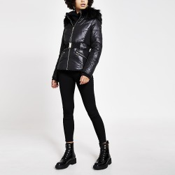 River Island Womens Black faux fur hood belted fitted jacket