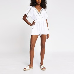 River Island Womens White textured beach playsuit found on Bargain Bro from RIver Island US for USD $38.00