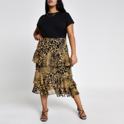 River Island Womens Plus Brown printed tiered frill midi skirt found on Bargain Bro UK from River Island - UK