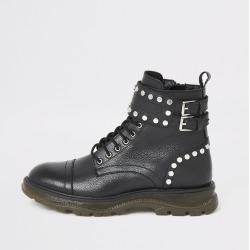 Womens Black leather studded lace-up hiking boots found on MODAPINS from River Island - UK for USD $94.43