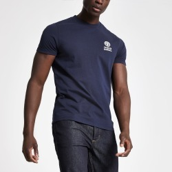 Mens Franklin & Marshall Navy crew neck T-shirt found on MODAPINS from River Island - UK for USD $31.77