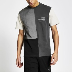 Mens River Island DVSN Grey colour blocked slim fit t-shirt