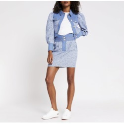 River Island Womens Blue high waisted boucle mix denim skirt found on Bargain Bro UK from River Island - UK