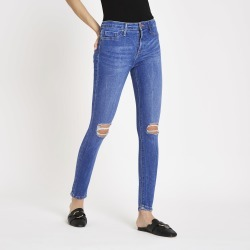 Womens Bright Blue Molly ripped jeggings found on MODAPINS from River Island - UK for USD $53.37