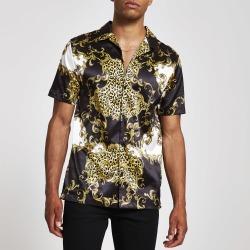 Mens River Island Jaded London Black baroque regular fit shirt