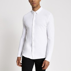 River Island Mens White muscle fit pique polo shirt