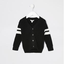 River Island Mini boys black block stripe knitted cardigan