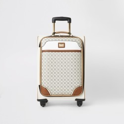 River Island Womens Grey RI monogram zip front suitcase found on Bargain Bro UK from River Island - UK